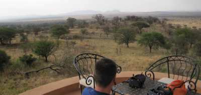 A beer with a view at the Sopa Lodge, Serengeti