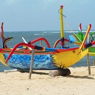 Holidays to Bali and Lombok - Traditional fishing boats on Sanur beach