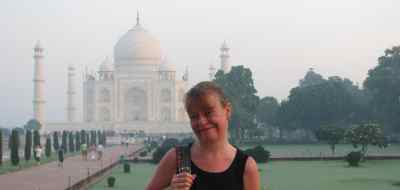 Karen at the Taj Mahal, Agra