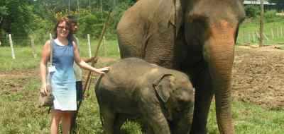 Karen at the Pinawela elephant orphanage, Sri Lanka
