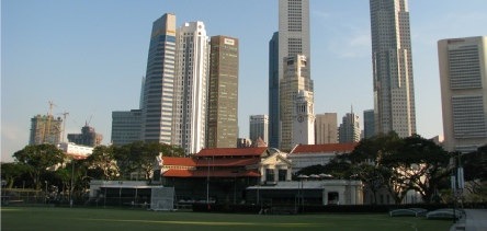 Holidays to Singapore with Escape Worldwide - Singapore Cricket Club and city centre skyline