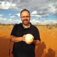 Darren in the Kalahari Desert (with an ostrich egg)